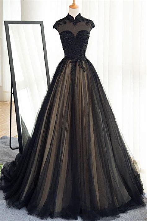 Black Tulle Cap Sleeves Floor Length Long Prom Dresses