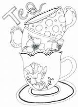 Tea Coloring Pages Teapot Cups Pots Getdrawings sketch template