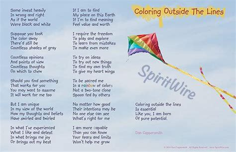Coloring Outside The Lines by Coloring Outside The Lines Poem By Dan Coppersmith Uplifting