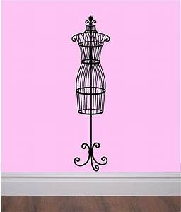 Beautiful vinyl wall decal vintage dress form paris