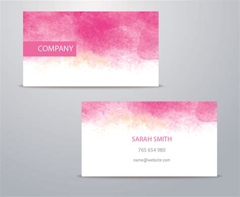 Watercolor Business Card Template Vector Art & Graphics