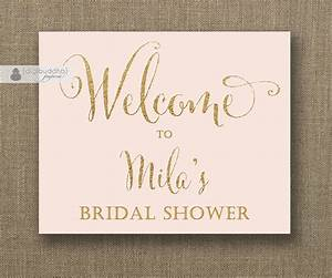Blush pink gold glitter welcome sign bridal shower for Wedding shower signs