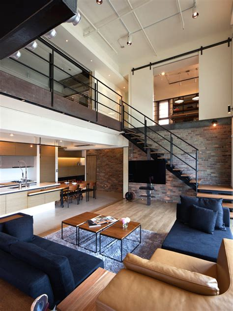 Bedroom Renovations by Two Story Penthouse In Taiwan Displaying Contemporary