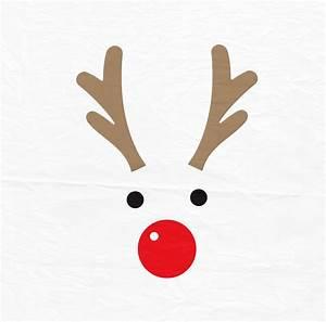 Rudolph Christmas Reindeer SVG Reindeer Face SVG Reindeer