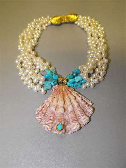 Necklace Pearl Turquoise Helga Wagner Teardrop Shell