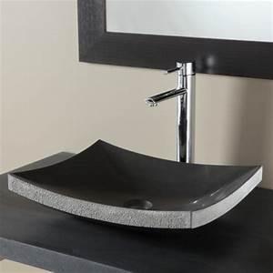 Lavabo En Pierre Naturelle : vasques a poser noir intense vasque en pierre rectangulaire ~ Premium-room.com Idées de Décoration