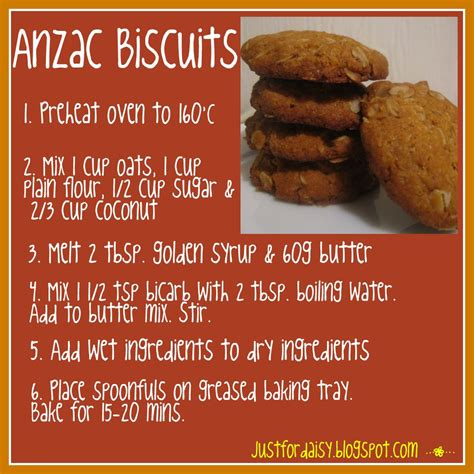 recipe for justfordaisy anzac biscuits