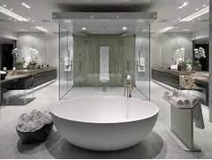 Striking Modern Design Bathroom Centers Acres Of Marble Flooring And A Modern Bath Glass Wall 59 Modern Luxury Bathroom Designs Pictures Try To Mimic A Spa In Your Bathroom Image Source DKor Interiors