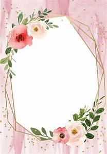Flower Invitations Templates Free Polygonal Frame And Blush Flowers Quinceañera Invitation