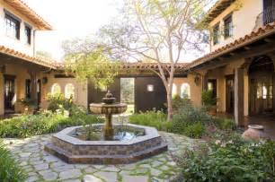 center colonial house plans santa ynez ranch courtyard mediterranean landscape