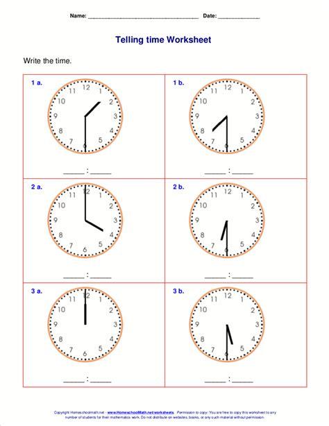 telling time worksheets  st grade