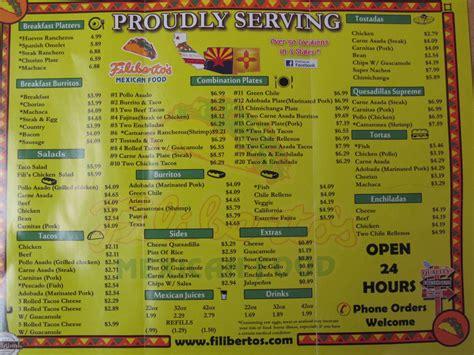 menu cuisine az filiberto 39 s food menu urbanspoon zomato