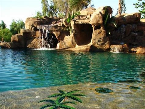 cave waterfall from dj 39 s pools spa in riverside ca 92516