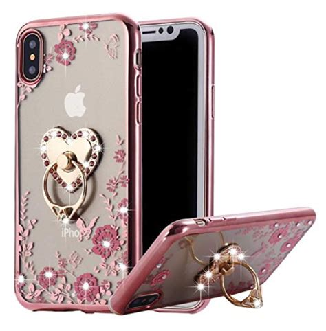 floral bling rhinestone iphone xs max case ring crystal