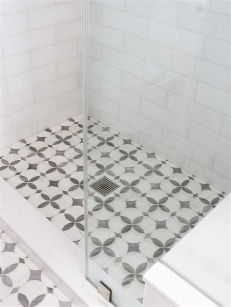 marble threshold for shower white and gray quatrefoil shower floor tiles