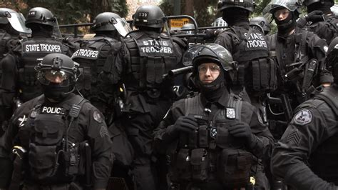 Large Police Force Heavily Armed On Street Stock Video Footage - Storyblocks