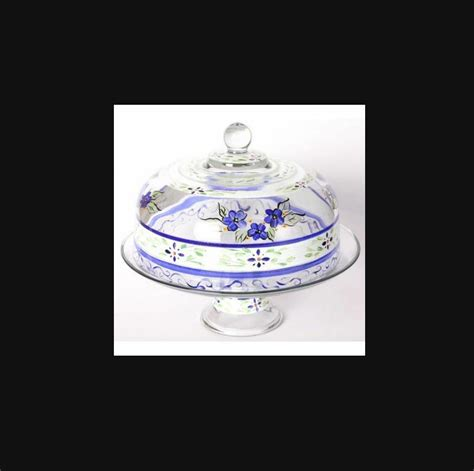 floral glass cake  pie plate  dome cover stand