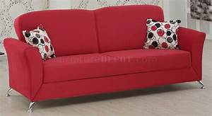 red fabric modern convertible sofa bed w optional items With red modern sofa bed