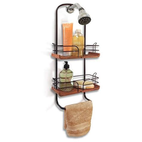 teak and oil rubbed bronze shower caddy bedbathandbeyond
