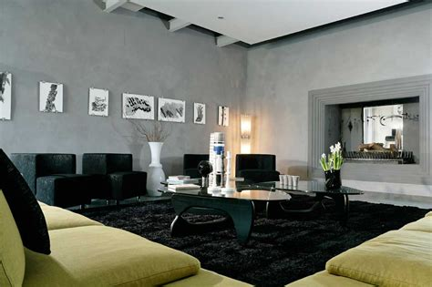 Black Living Rooms with Area Rugs