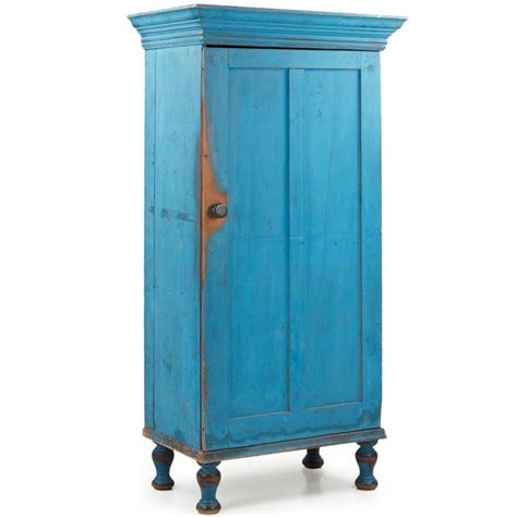 Painted Cupboard by Exceptional Pennsylvania Blue Painted Antique Cupboard