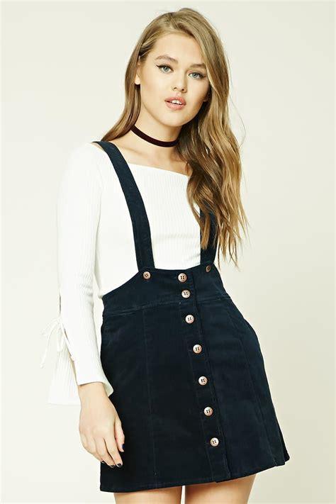 Lyst - Forever 21 Corduroy Overall Skirt in Blue