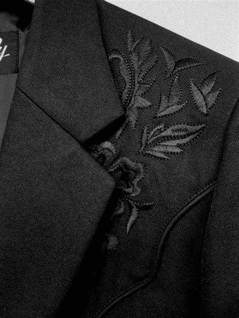 scully mens jacket western blazer embroidery black