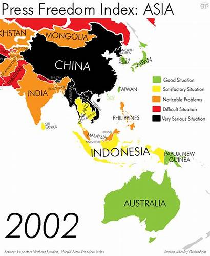 Worst Countries Maps Recent Journalists Changed Asia