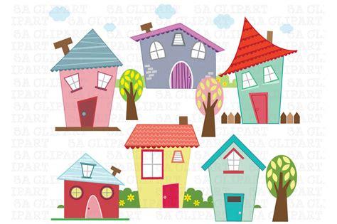 Little Houses Digital Clip Art  Illustrations On Creative