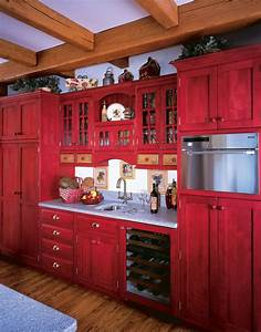 red-painted-kitchen-cabinets-Kitchen-Farmhouse-with-drawer ...