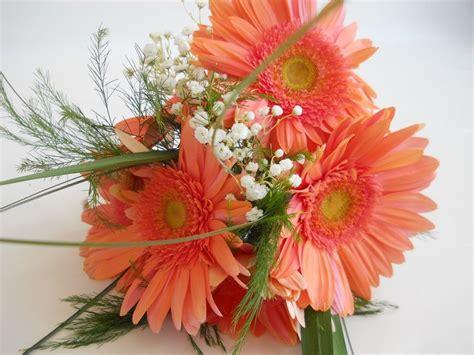 Coral Gerber Daisy Bridesmaids Bouquet Wedding Flowers