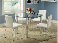 White breakfast table set, dining table glass top dining