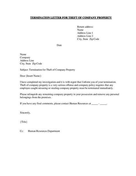 Company Theft Policy Template by 2018 Termination Letter Templates Fillable Printable