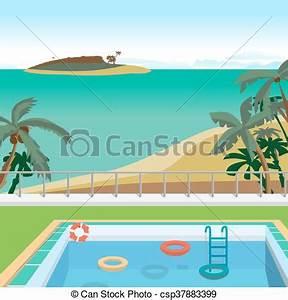 Dessin De Piscine : t ext rieur island illustration piscine tropics ~ Melissatoandfro.com Idées de Décoration
