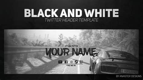 Twitter Header Photoshop Template Free 2017 by Black And White Clean Gaming Twitter Header Free Twitter