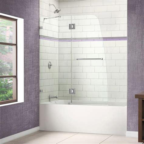 frameless shower doors tub dreamline aqua 48 in w x 58 in h frameless hinged