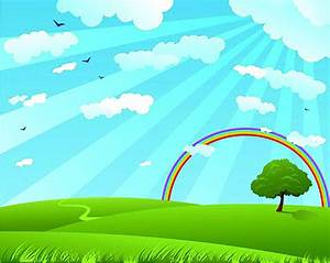 Cartoon Sunny White Clouds Background Rainbow Background ...