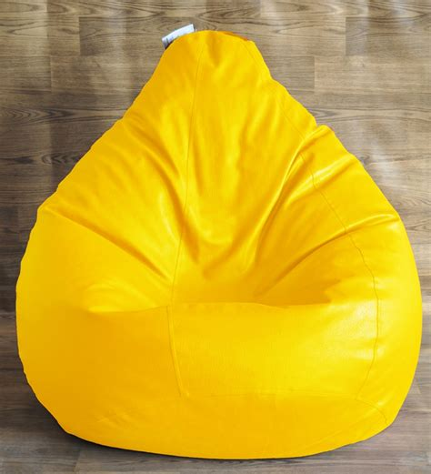 style homez yellow classic bean bag cover without