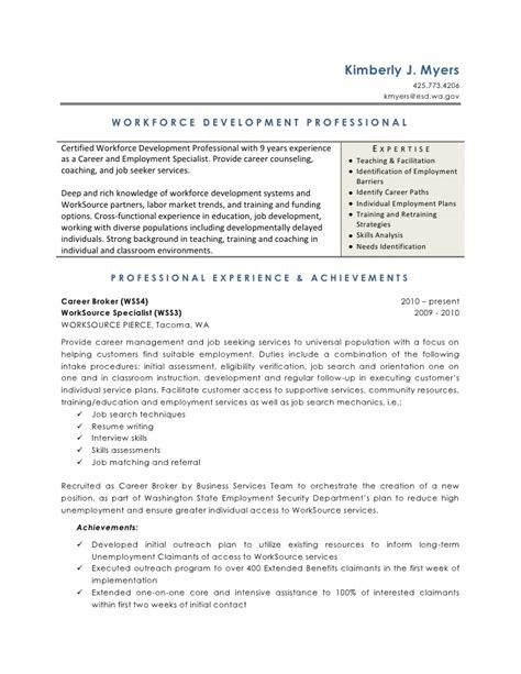 Workforce Resume Template by Workforce Development Resume