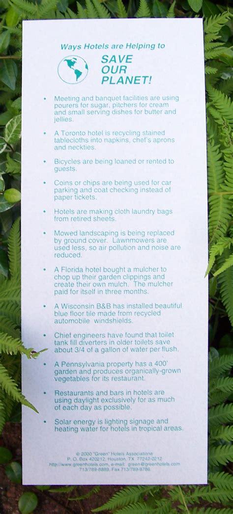 quotgreenquot hotels association printed cards