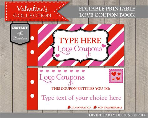 sale instant  editable printable love coupon book