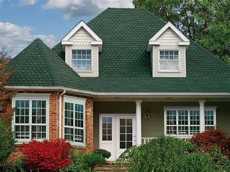 paint color with the green shingles and red brick