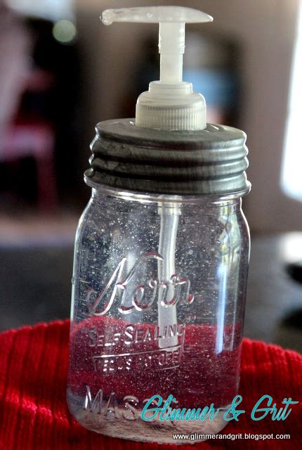 glimmer  grit  glue diy mason jar soap dispenser