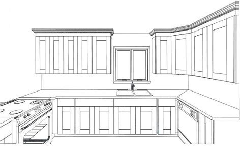 Drawn kitchen layout drawing   Pencil and in color drawn