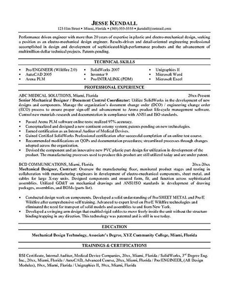 Mechanical Resume Objective by Mechanical Engineering Resume Exles Professional