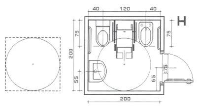 doccia misure minime superabile inail bagni con spazi minimi soluzione h