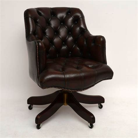 antique leather chair antique buttoned leather swivel desk chair 1287
