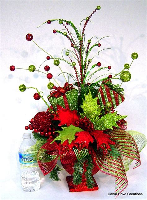 christmas bling red lime centerpiece floral arrangement
