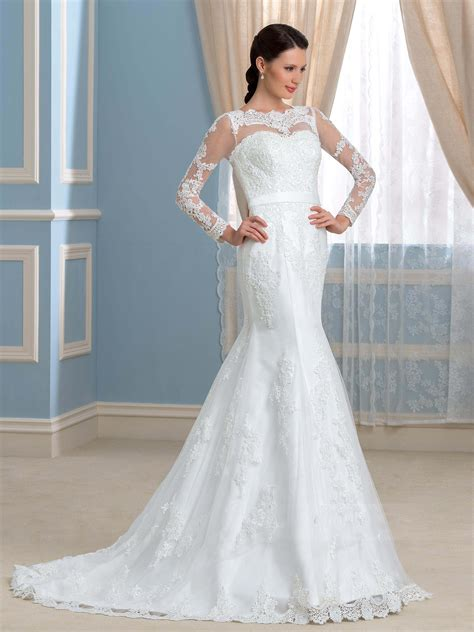 mermaid wedding dress  open   lace long sleeve