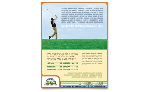 golf instructor  flyer template word publisher